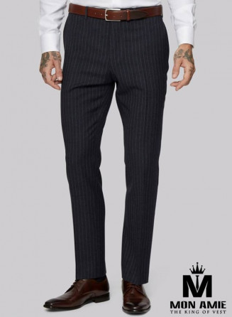Striped Regular Trouser in Black